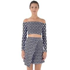 Asterisk Black White Pattern Off Shoulder Top With Skirt Set