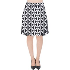 Flower Of Life Pattern Black White 1 Velvet High Waist Skirt by Cveti