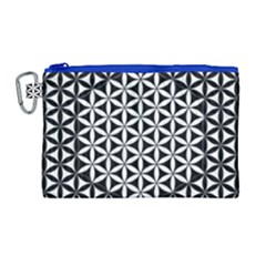 Flower Of Life Pattern Black White 1 Canvas Cosmetic Bag (large)