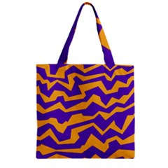 Polynoise Pumpkin Zipper Grocery Tote Bag by jumpercat