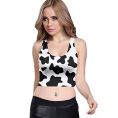 Animal Print Black And White Black Racer Back Crop Top