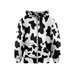Animal Print Black And White Black Kids  Zipper Hoodie