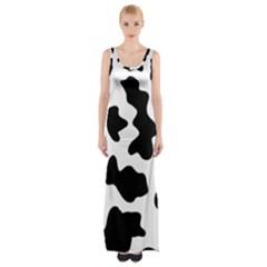 Animal Print Black And White Black Maxi Thigh Split Dress