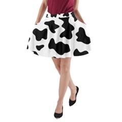 Animal Print Black And White Black A Line Pocket Skirt