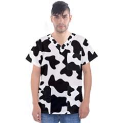 Animal Print Black And White Black Men s V Neck Scrub Top