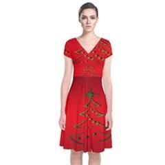 Christmas Short Sleeve Front Wrap Dress
