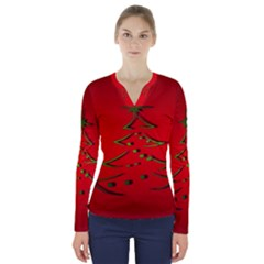 Christmas V Neck Long Sleeve Top