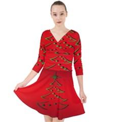 Christmas Quarter Sleeve Front Wrap Dress