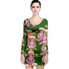 Seamless Tile Repeat Pattern Long Sleeve Bodycon Dress