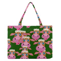 Seamless Tile Repeat Pattern Zipper Medium Tote Bag