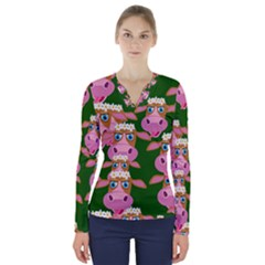 Seamless Tile Repeat Pattern V Neck Long Sleeve Top
