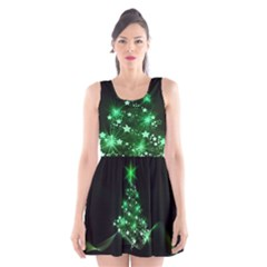 Christmas Tree Background Scoop Neck Skater Dress
