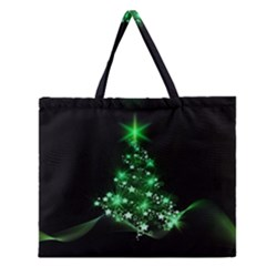 Christmas Tree Background Zipper Large Tote Bag by BangZart