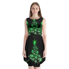 Christmas Tree Background Sleeveless Chiffon Dress