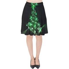 Christmas Tree Background Velvet High Waist Skirt by BangZart