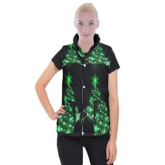 Christmas Tree Background Women s Button Up Puffer Vest