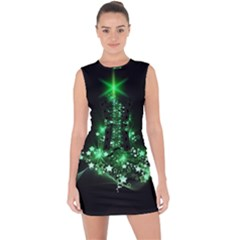 Christmas Tree Background Lace Up Front Bodycon Dress