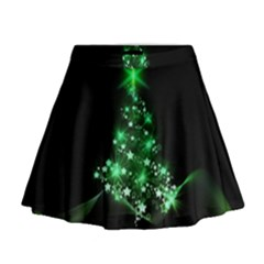 Christmas Tree Background Mini Flare Skirt