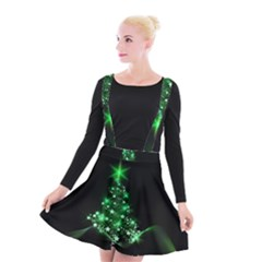 Christmas Tree Background Suspender Skater Skirt