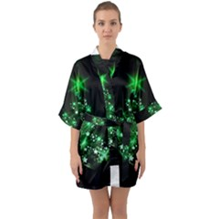 Christmas Tree Background Quarter Sleeve Kimono Robe