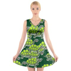 Seamless Tile Background Abstract V Neck Sleeveless Skater Dress