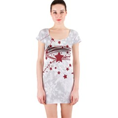 Christmas Star Snowflake Short Sleeve Bodycon Dress