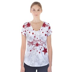 Christmas Star Snowflake Short Sleeve Front Detail Top