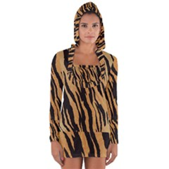 Animal Tiger Seamless Pattern Texture Background Long Sleeve Hooded T Shirt