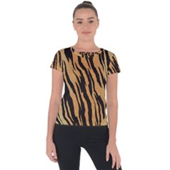 Animal Tiger Seamless Pattern Texture Background Short Sleeve Sports Top