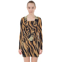 Animal Tiger Seamless Pattern Texture Background V Neck Bodycon Long Sleeve Dress