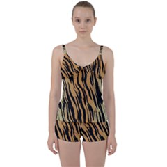 Animal Tiger Seamless Pattern Texture Background Tie Front Two Piece Tankini