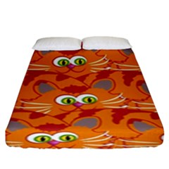 Animals Pet Cats Mammal Cartoon Fitted Sheet (king Size)