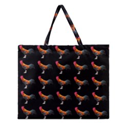 Background Pattern Chicken Fowl Zipper Large Tote Bag