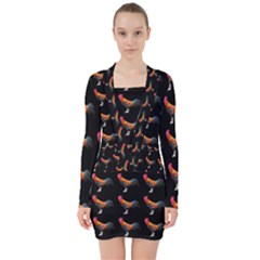 Background Pattern Chicken Fowl V Neck Bodycon Long Sleeve Dress