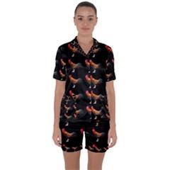 Background Pattern Chicken Fowl Satin Short Sleeve Pyjamas Set