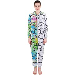 Brain Mind Psychology Idea Hearts Hooded Jumpsuit (ladies)