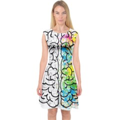 Brain Mind Psychology Idea Hearts Capsleeve Midi Dress