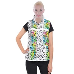 Brain Mind Psychology Idea Hearts Women s Button Up Puffer Vest