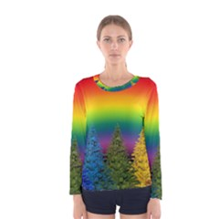 Christmas Colorful Rainbow Colors Women s Long Sleeve Tee