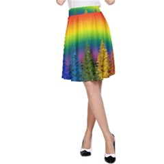 Christmas Colorful Rainbow Colors A Line Skirt by BangZart