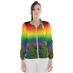 Christmas Colorful Rainbow Colors Wind Breaker (women)
