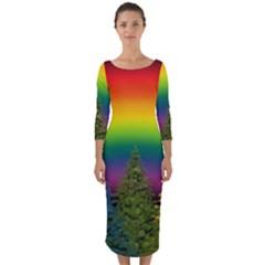 Christmas Colorful Rainbow Colors Quarter Sleeve Midi Bodycon Dress