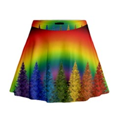 Christmas Colorful Rainbow Colors Mini Flare Skirt