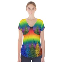 Christmas Colorful Rainbow Colors Short Sleeve Front Detail Top