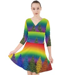 Christmas Colorful Rainbow Colors Quarter Sleeve Front Wrap Dress