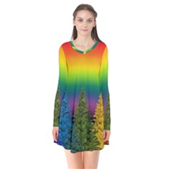 Christmas Colorful Rainbow Colors Flare Dress