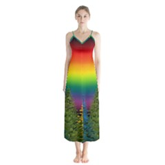 Christmas Colorful Rainbow Colors Button Up Chiffon Maxi Dress
