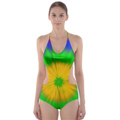 Spot Explosion Star Experiment Cut Out One Piece Swimsuit