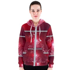 Christmas Candles Christmas Card Women s Zipper Hoodie