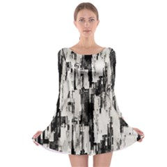 Pattern Structure Background Dirty Long Sleeve Skater Dress